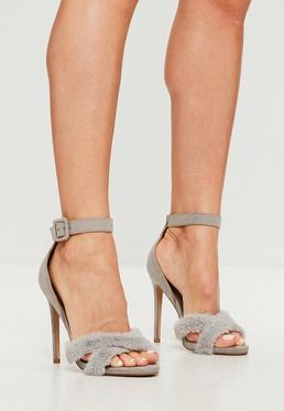 Gray Faux Fur Cross Over heel