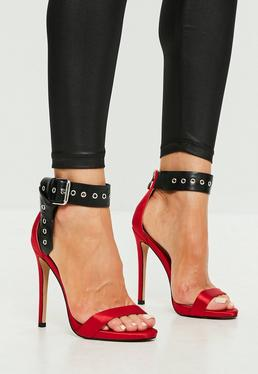 Red Folded Ankle Barely There Heels