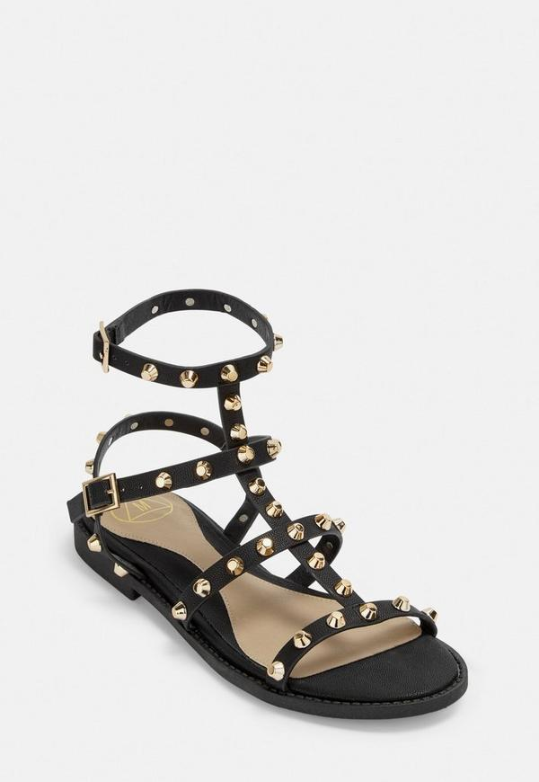 82ced8bb7cbd9f Black Studded Gladiator Sandals