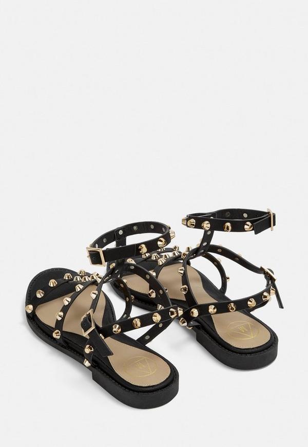 d4b6f40aef70d5 Black Studded Gladiator Sandals. Previous Next
