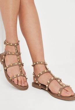 909922513 Brown Studded Gladiator Sandals