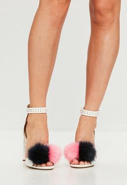 White Pom Pom Block Heeled Sandals