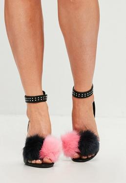 Black Pom Pom Heeled Sandals