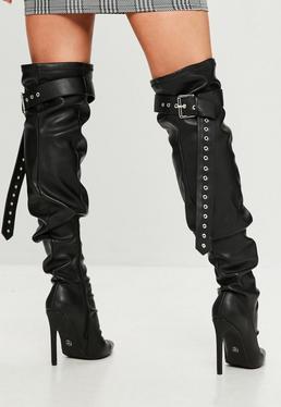 Black Belt Buckle Thigh High Boots