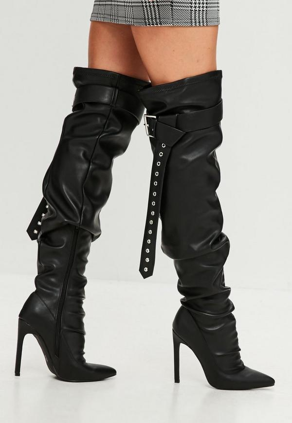 black belt buckle thigh high boots missguided