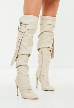Beige Belt Buckle Thigh High Boots