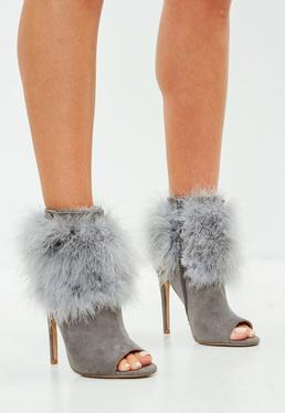 Grey Feather Trim Peep Toe Shoe Boots