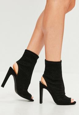 Black Shimmer Peeptoe Shoe Boot