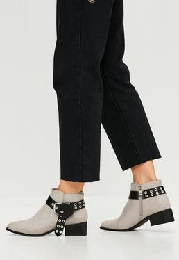 Grey Belt Buckle Detail Ankle Boots