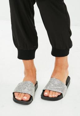 Black Diamante Embellished Sliders
