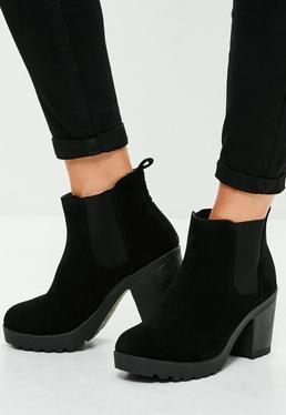 Black Faux Suede Cleated Sole Ankle Boots
