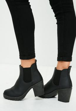 Black Faux Leather Cleated Sole Ankle Boots
