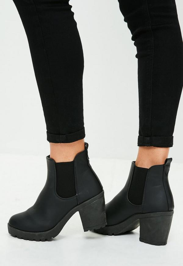 black faux leather cleated sole ankle boots missguided. Black Bedroom Furniture Sets. Home Design Ideas