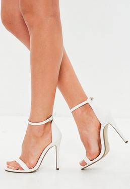 White Two Strap Croc Barely There Heels