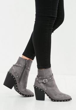 Silver Studded Western Ankle Boot