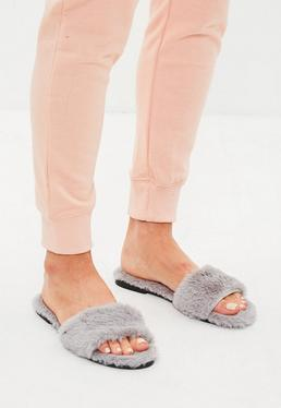 Gray Faux Fur Slipper