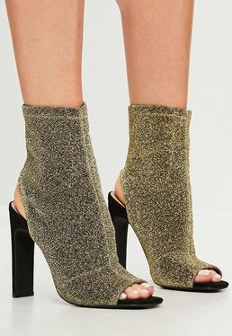 Gold Shimmer Peep Toe Ankle Boots