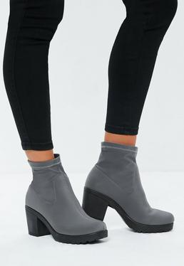 Grey Chunky Sole Sock Ankle Boots