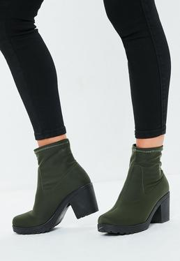 Khaki Chunky Sole Sock Ankle Boots