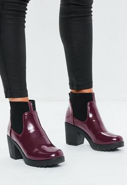 Burgundy High Shine Chunky Chelsea Boots