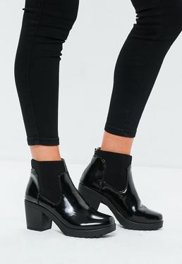 Black High Shine Chunky Chelsea Boots