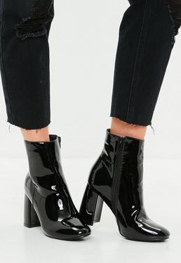 Black Patent Round Toe Ankle Boot