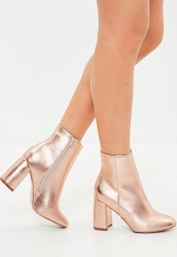 Rose Gold Block Heel Round Toe Ankle Boots