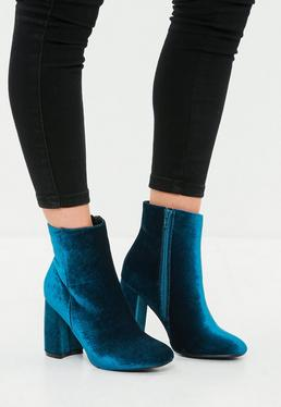 Blue Velvet Round Toe Ankle Boot