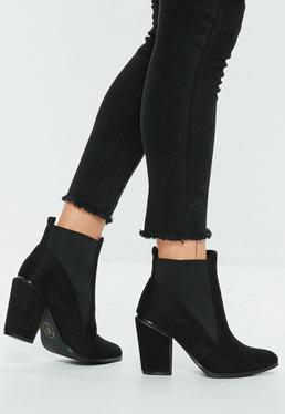 Black Faux Suede Western Boot