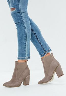 Beige Western Chelsea Boots