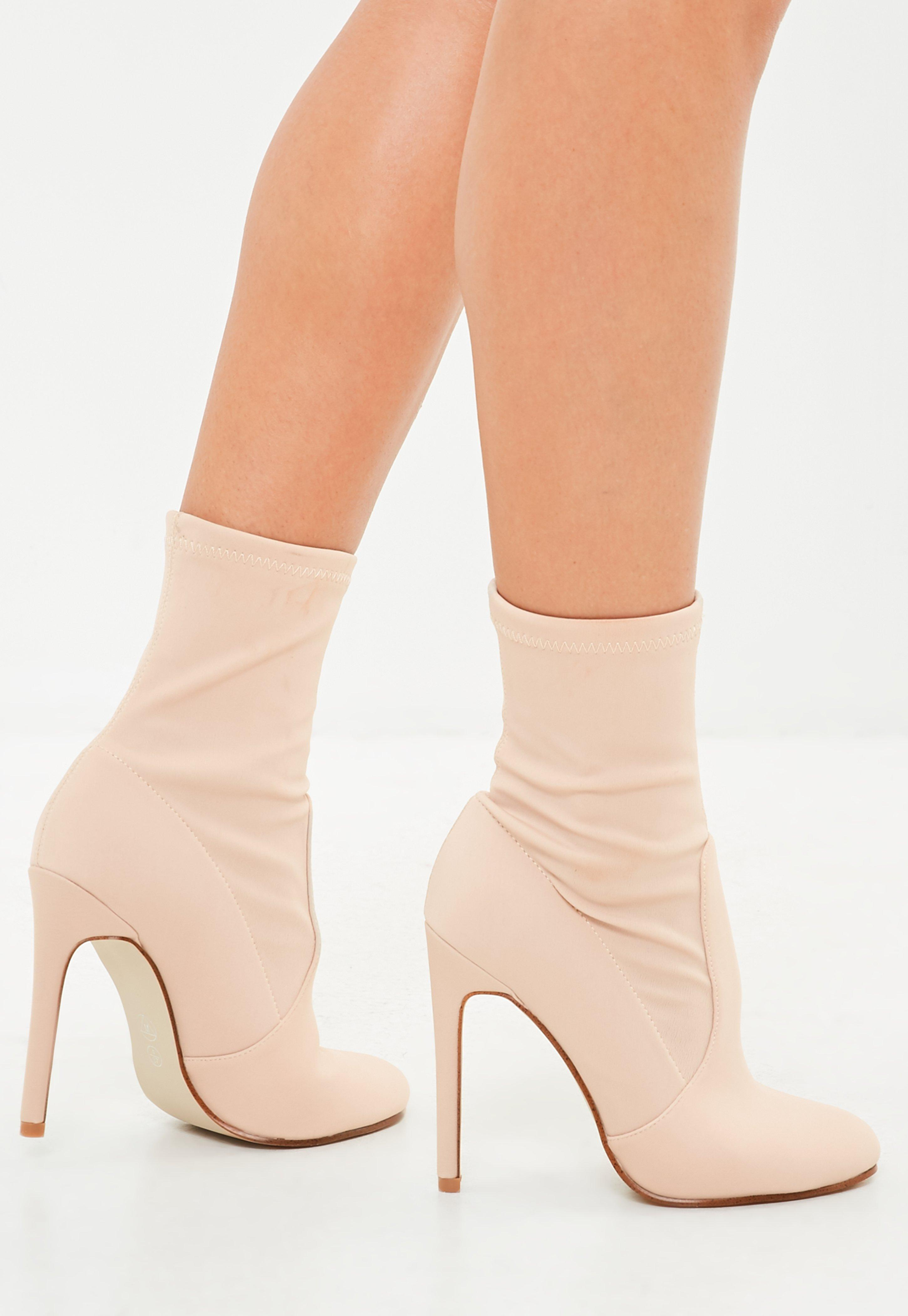 nude round toe stiletto heel boots | missguided