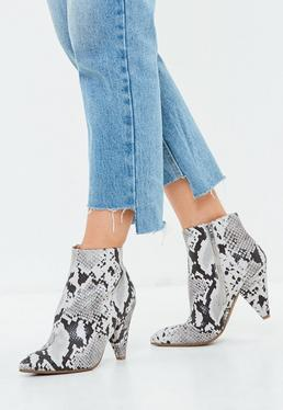 Gray Snakeskin Print Ankle Boots