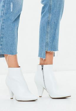 White Cone Heel Ankle Boots