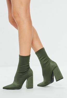 Khaki Pointed Flared Heel Ankle Boots