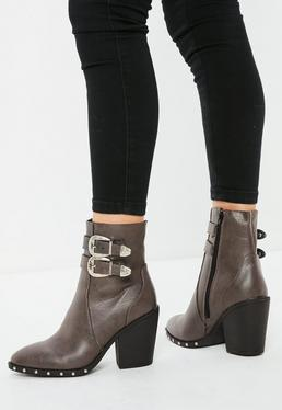 Brown Etched Buckle Western Ankle Boots