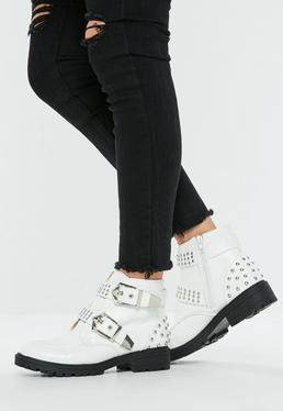 White Double Buckle Biker Boots