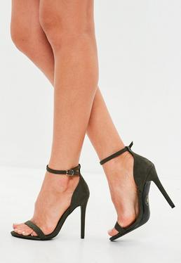 Khaki Faux Suede Two Strap Barely There Heels