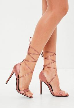 Bronze Lace Up Barely There Heeled Sandals