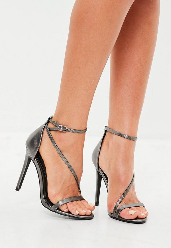 Grey Asymmetric Barely There Heels Missguided