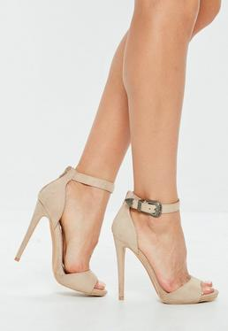 Nude Western Buckle Heeled Sandals