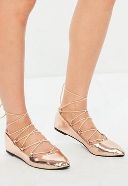 Rose Gold Gillie Pointed Ballerina Shoes