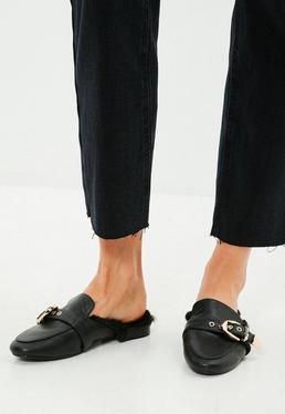 Black Western Buckle Fur Mule