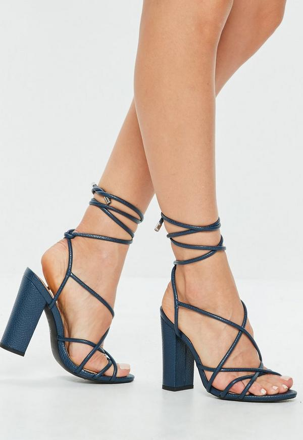 Blue Multi Strap Block Heel Sandal Missguided Ireland