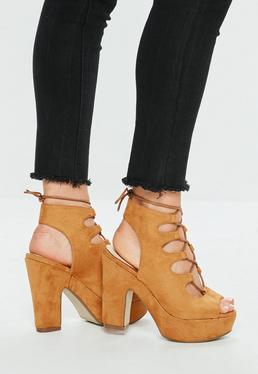 Tan Gillie Lace Up Platform Sandals