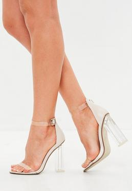 Nude Block Perspex Sandal Heels
