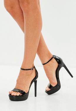 Czarne sandały szpilki na platformie