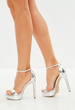 Silver Simple Strap Platform Sandals