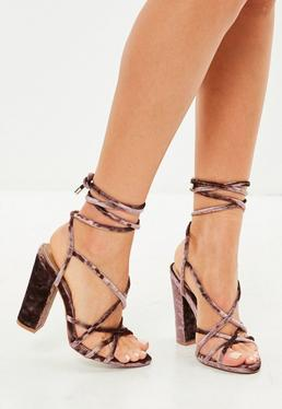 Brown Multi Strap Velvet Sandals