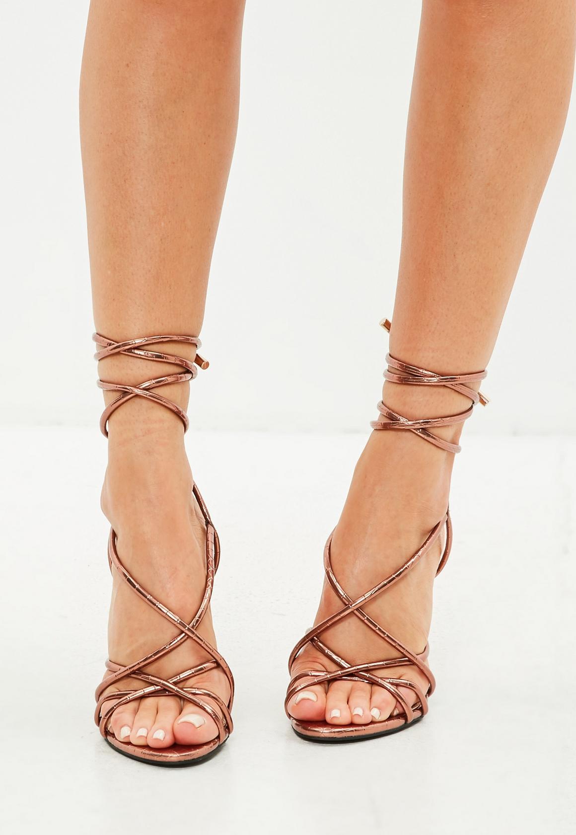 85f59e15c37 Missguided - Bronze Multi Strap Block Heel Croc Effect Sandal