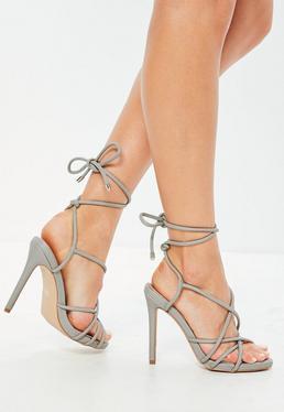 Szare szpilki sandały gladiatorki